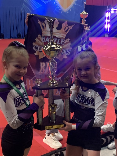 Emma and Ellie's success at cheerleading competition
